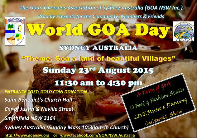 World Goa Day - Aug'16 @ Check for updated flyer closer to the date